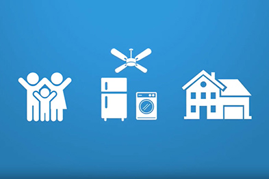 three icons, people, appliances and home